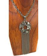 Vintage Sarah Coventry  Tassel Pendant  Silver tone Metal Necklace - $24.70