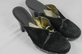 COLE HAAN Kenna Studded MULES Ladies size 7 B Black Suede HEELS CLOGS SHOES - $31.50