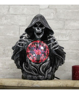 Gothic Alchemy Evil Grim Reaper Skeleton With Scrying Plasma Ball Lamp Statue - $63.99