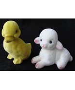 Vintage Easter Fuzzy Two Flocked Lamb and Duckling Hong Kong Sticker Cute - $9.50