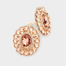"Peach Marquise Crystal Oval Clip On Earrings Design Fashion Jewelry Womens 1.6"" - $21.78"