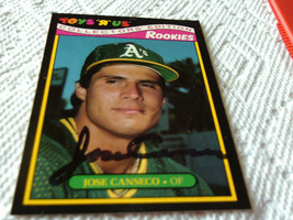 1987  JOSE  CANSECO   ROOKIE    HAND  SIGNED  AUTOGRAPH    TOYS R US  # 5 - $24.99