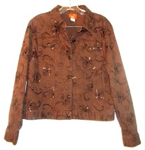 Hearts of Palm Brown Floral Embroidered Denim Jacket with Beaded Accents... - $28.49