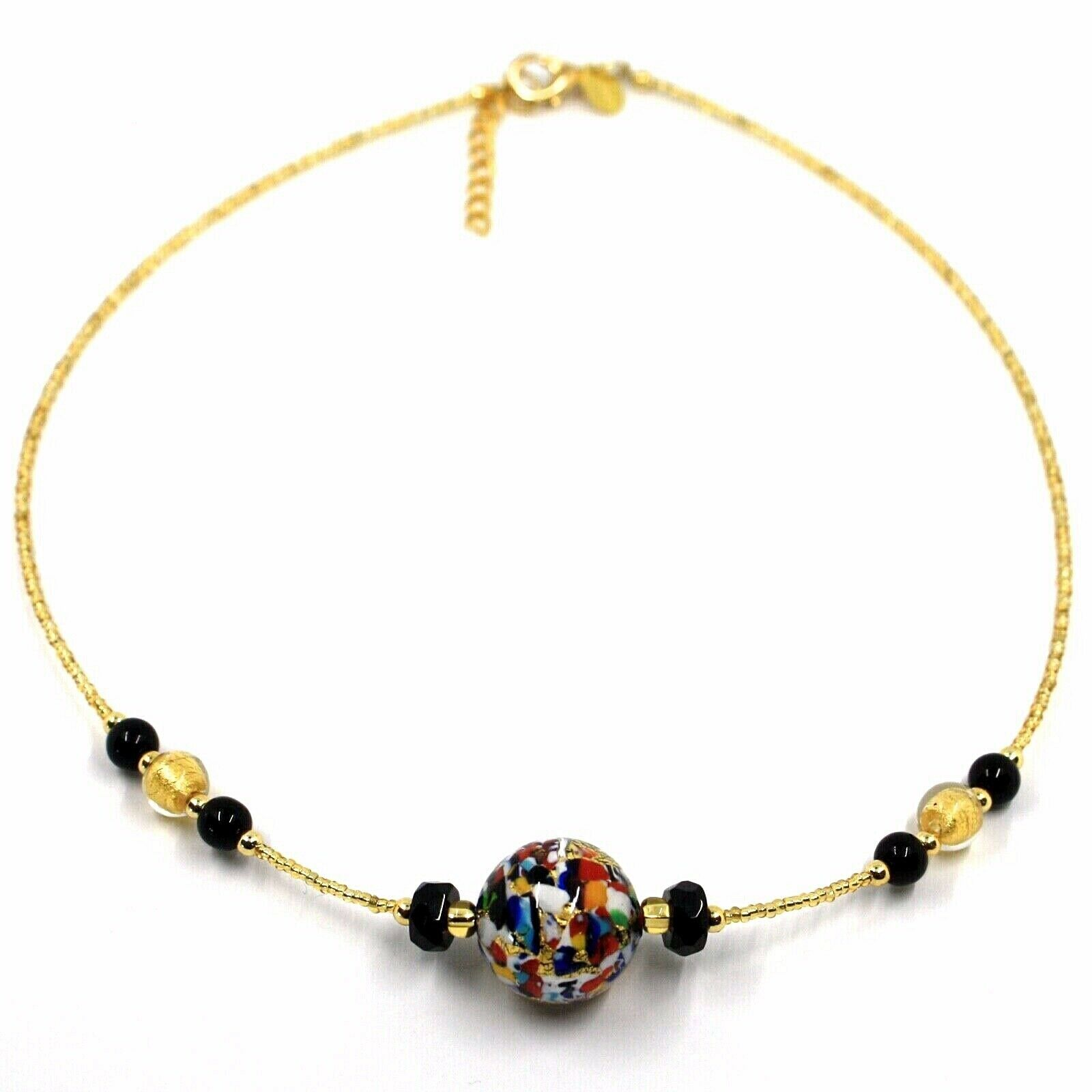 NECKLACE MACULATE MULTI COLOR MURANO GLASS BIG SPHERE, GOLD LEAF, ITALY MADE