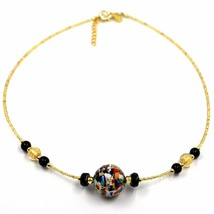 NECKLACE MACULATE MULTI COLOR MURANO GLASS BIG SPHERE, GOLD LEAF, ITALY MADE image 1