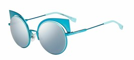 FENDI EYESHINE FF0177S Aqua Blue Mirrored Metal Sunglasses Round Runway ... - $185.77