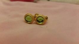 light green center gold edging screw on & clip earrings vintage simple 1/2 inch - $12.99