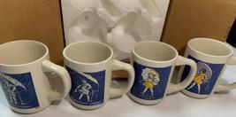 4 Vintage Morton Salt Coffee Mugs When It Rains It Pours Umbrella Girl S... - $35.30