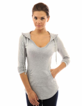 PattyBoutik X-Large (XL) Women's Hoodie Curve Hem Tunic Top Light Heather Grey image 3
