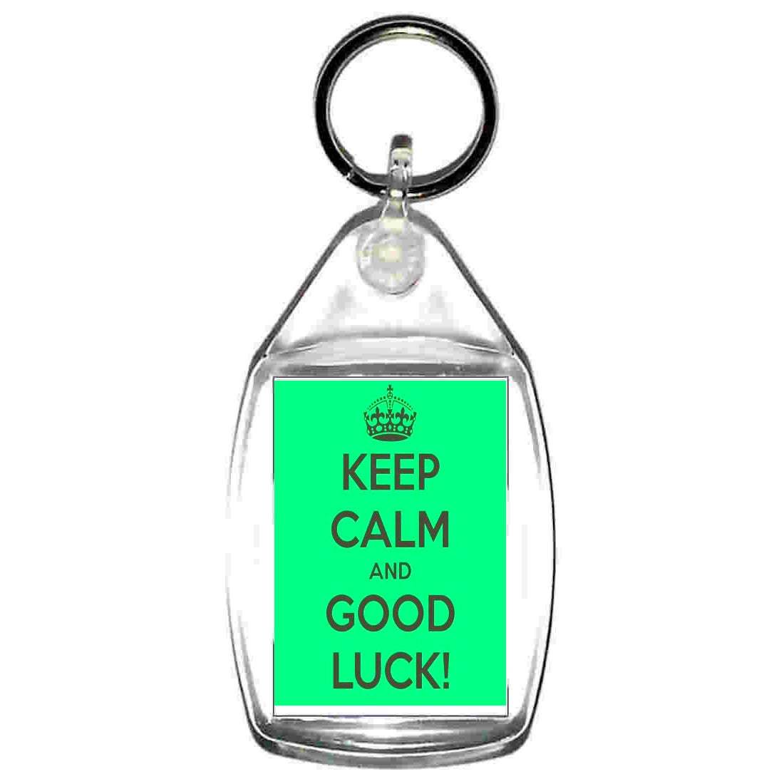 keep calm good luck  keyring  handmade in uk from uk made parts, keyring, keyfob