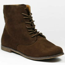Dark Brown Faux Suede Lace Up Flat Fashion Ankle Boot Bootie Qupid Strip-68 - $14.99