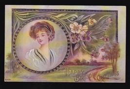 Happy Birthday Greetings Vintage Embossed Postcard Artist Signed Reynolds 6304 - $3.98