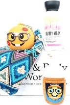 Bath & Body Works Happy Vibes Travel Cream, Nerd Emoji Holder & PocketBa... - $22.28