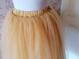 6 Layered Tulle Tutu Skirt Puffy Ballerina Tulle Skirt Apricot Plus Size image 4