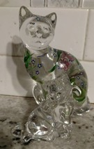 "Lenox Glass Cats Figurines from Estate 6"" & 3.5"" Hand Painted - $29.88"