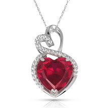 4.20 Carat Halo Red Ruby Double Heart Gemstone Pendant & Necklace14K Whi... - $150.73