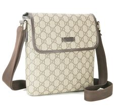Authentic GUCCI Brown GG PVC Canvas and Leather Shoulder Bag Purse #33012 image 3