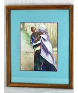 Colored Pencil Drawing Original Signed Musa.h Mother & Child Kabul Afgha... - $47.50
