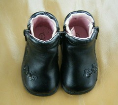 Baby girls size 1 little Black zippered boots slip resistant soles by Te... - $4.50