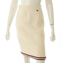 Chanel Coco Mark Tweed Tight Skirt P38607 Size 36 White Used Grade A - MD - $814.00