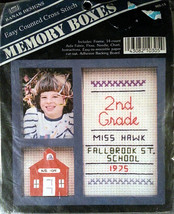 School Memory Boxes Counted Cross Stitch Kit Frame Easy Banar Designs 4x... - $4.99