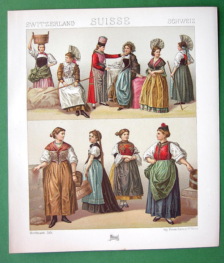 Primary image for SWITZERLAND Women's Costume Uri Bern Cantons - 1888 COLOR Print A. Racinet