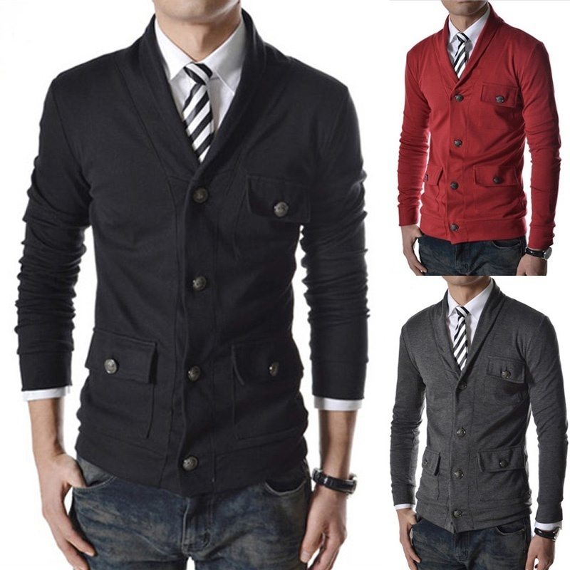 Alexis Men's casual small coat new jacket single breasted much buckle decoration