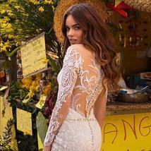 Elegant Mermaid Wedding Dresses With Beading Crystal Detachable Lace Tulle Train image 5