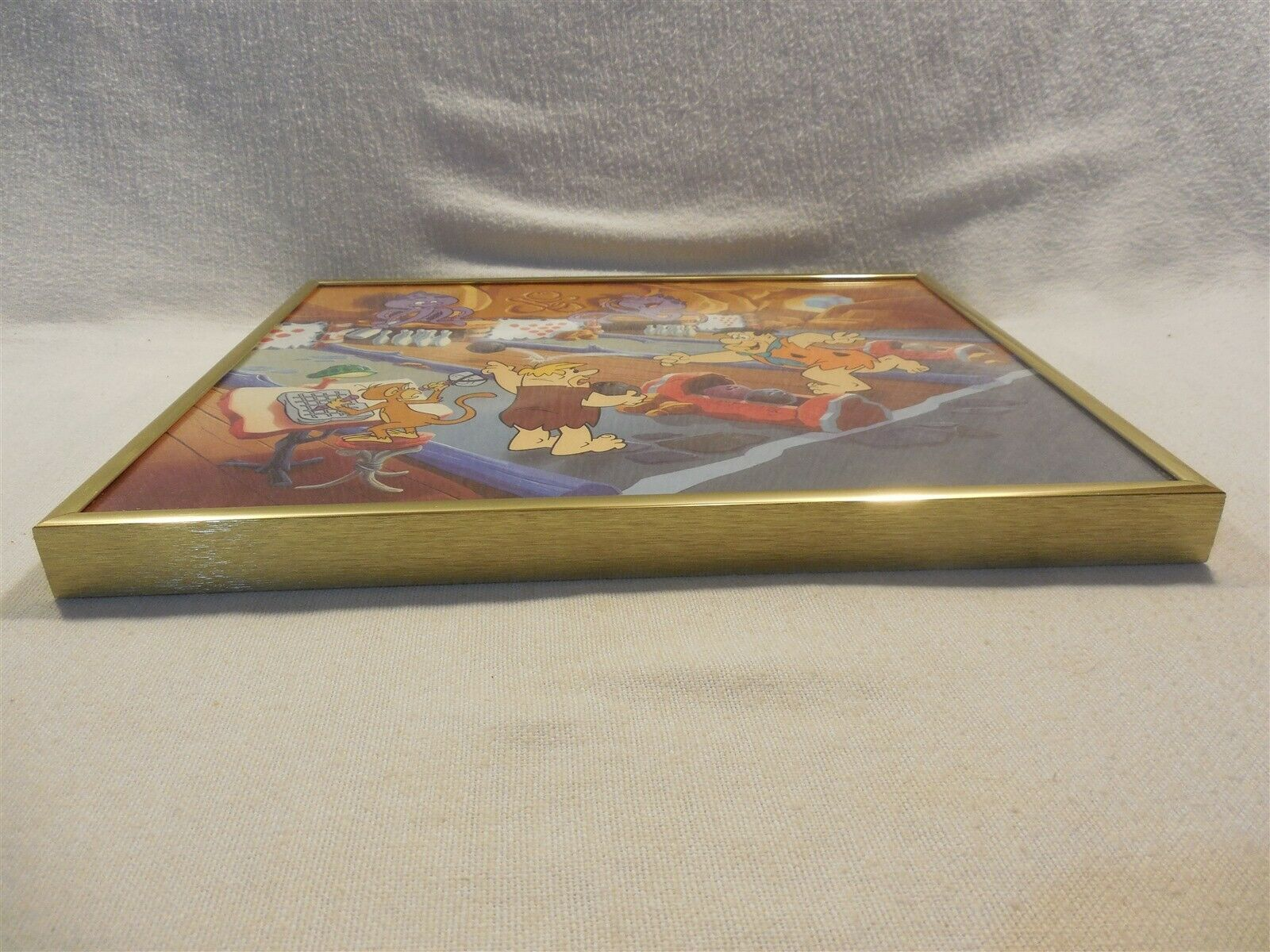 """Flintstones Framed Picture Fred and Barney Bowling 11"""" x 9"""""""