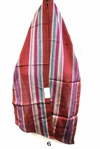 VTG Echo Scarf NWT 1970s Oblong Striped Great Colors Deep Red Aqua  54x8... - $17.56