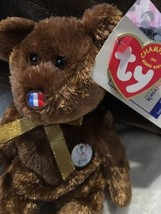 TY Beanie Baby Fifa World Cup 2002 Champion France Flag Nose Rare Bear - $11.54