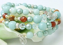 Amazonite Carnelian Citrine Sterling Beaded Wrap Layered Bracelet - $38.00