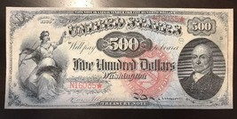 Reproduction $500 United States Note 1869 John Quincy Adams Legal Tender Copy - $2.96