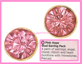 Breast Cancer Pink Hope Stud Earring Pack fo Four Goldtone Earrings 2018 image 4