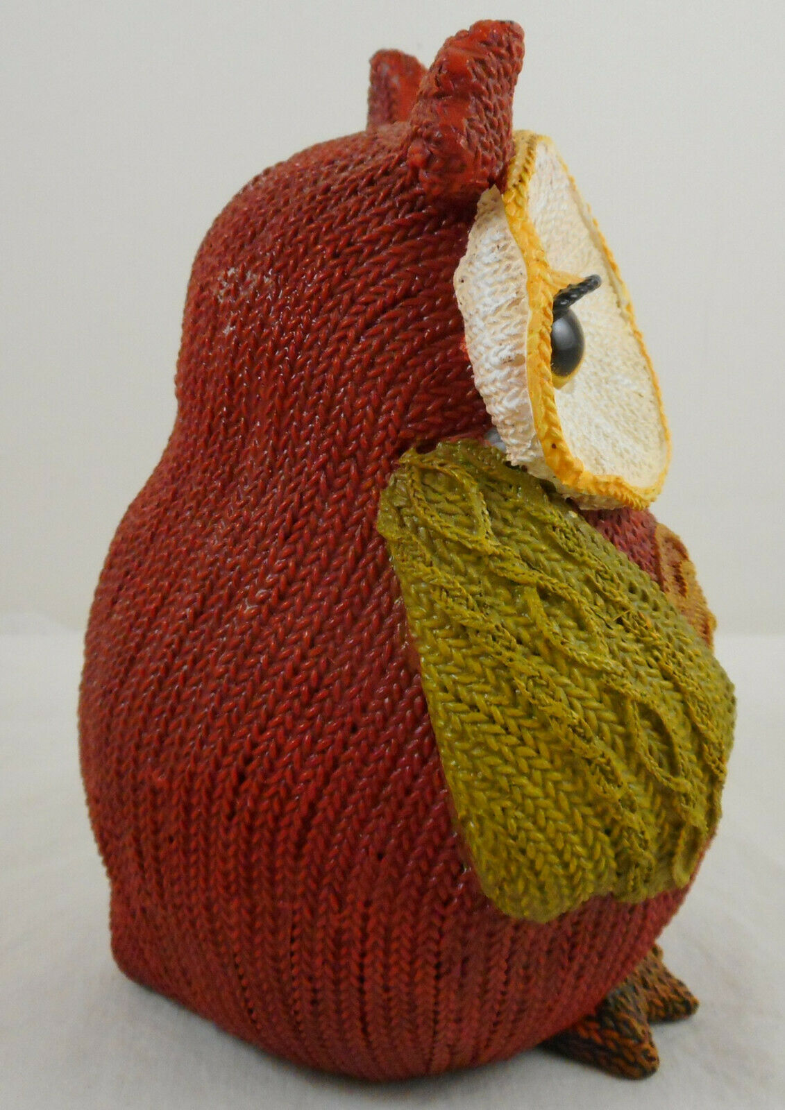 """Multi Color Resin Owl Knitted Look Knit Figurine 6"""" Fall Decoration Heart image 2"""