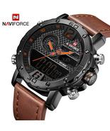 Mens Leather Sports Watches Quartz LED Digital Clock Waterproof Wrist Watch - £40.13 GBP
