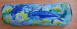 New Handpainted Batik Dolphins Cotton Bolster Pillow Cover Bali - $30.86