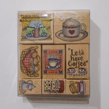 "Hero Arts Lets Have Coffee Stamp Set 8 Stamps 1 1/2"" - 2"" 1996 - $19.79"