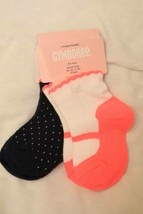 GYMBOREE Wavy Navy 2 pair SOCKS NWT Ballerina-Slipper-look Navy Pink Dot... - $9.85