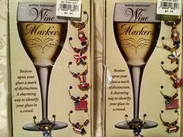 Patriotic Wine Charms USA Charms Set of 12 USA  America Charm Flag Charms - $7.78