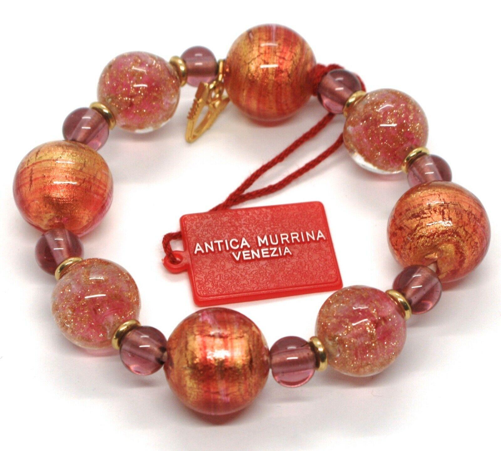 Bracelet Antica Murrina Venezia, Murano, Spheres Large, Purple Orange, Glitter