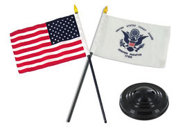 "State of Vermont w// Police Blue Line Flags 4/""x6/"" Desk Set Table Black Base"