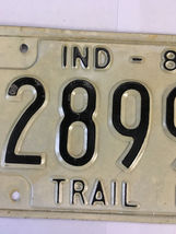 Vintage Indiana Trailer Metal License Plate 1987 2899D White Black image 3