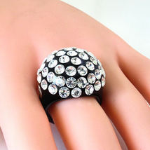 Luna Bianca By Pinky Black Acrylic Domed Ring Clear Swarovski Crystals On Dome image 2