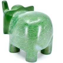 Vaneal Group Hand Crafted Carved Soapstone Large Heavy Green Elephant Sculpture image 3