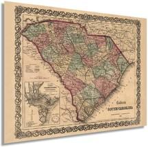 1865 Map of South Carolina - South Carolina Vintage Map Wall Art - Old South Car - $34.99+