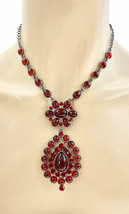 Vintage Inspired Pendant Casual Chic Red Beads & Rhinestones Necklace Ea... - $19.00