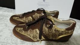 Michael Kors Mk Gold Logo Trainer Mocha Monogram Jacquard Sneakers Sz 7.5 - $107.91