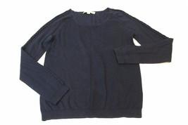 W12828 Womens Ann Taylor Loft Navy Long Embellished Sleeve Scoopneck Sweater Sml - $28.96