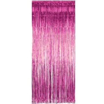 2pk PINK Metallic Foil Valentine's Day Fringe Curtain Party Decorations LOT - $10.35